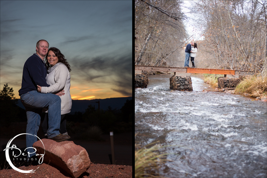 DePoy Studios, Flagstaff wedding photographer, Sedona, Sedona engagement, Sedona engagement location, Sedona engagement photo, photo, love, couple, water, sunset, Flagstaff Ranch